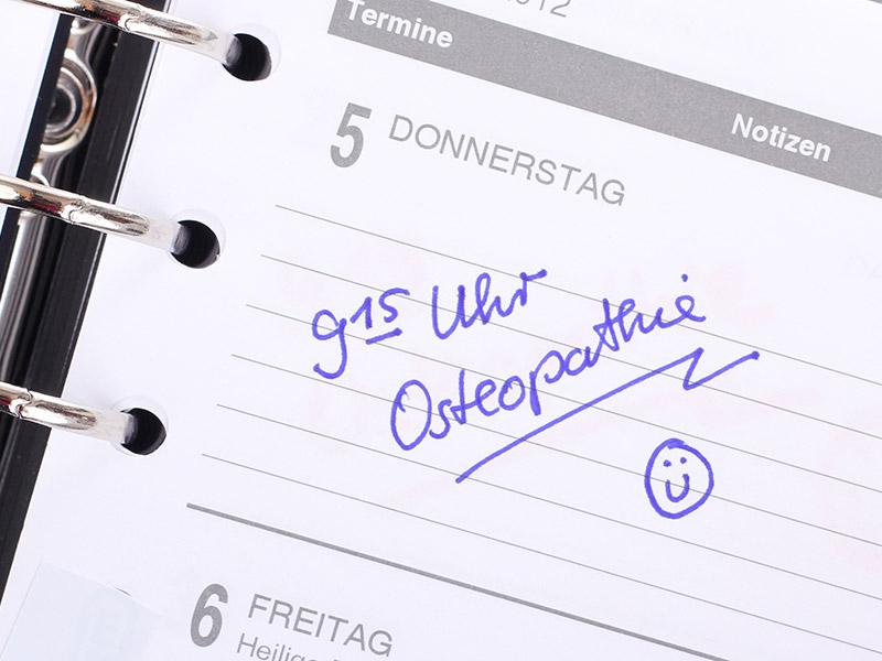 Terminkalender mit einem Osteopathietermin