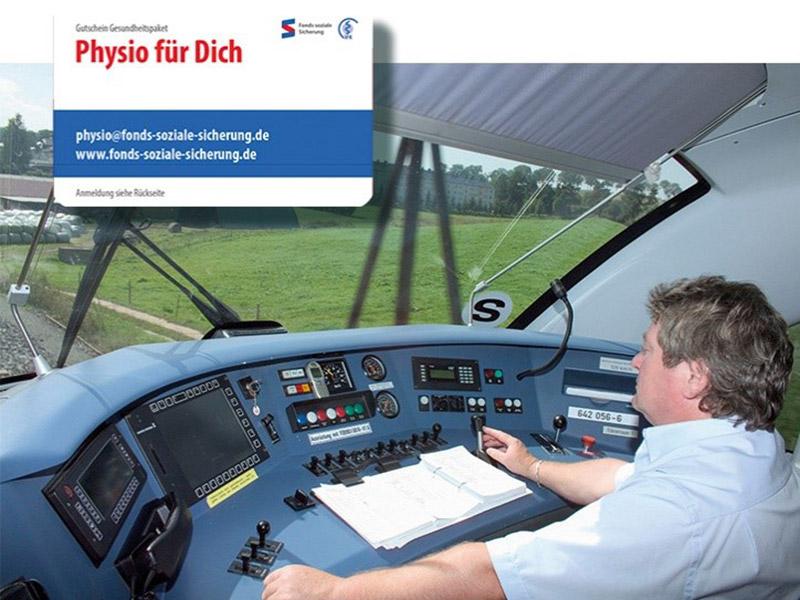 Ein Lokführer steuert eine Lok - Physio für Dich